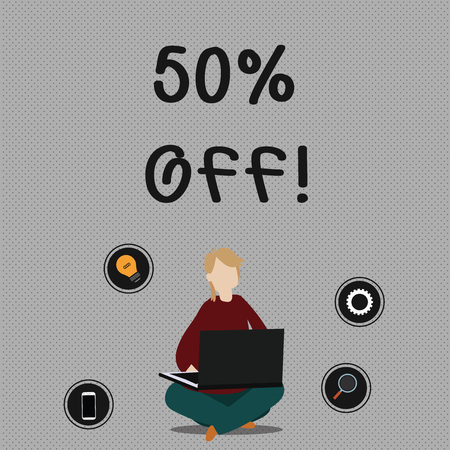 Conceptual hand writing showing 50 Percent Off. Concept meaning 50 percent reduction on the original price of a product Woman Sitting with Crossed Legs on Floor Browsing the Laptop