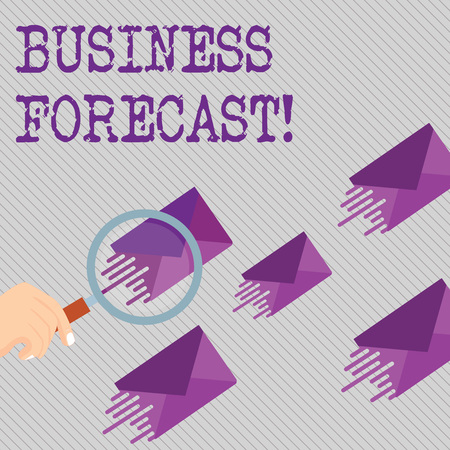 Conceptual hand writing showing Business Forecast. Concept meaning estimate or prediction of future developments in business Magnifying Glass on Color Envelope and others has Same Shade