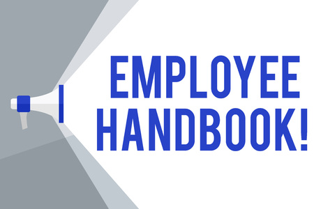 Writing note showing Employee Handbook. Business concept for states the rules and regulations and policies of a company Megaphone Extending the Volume Range through Space Wide Beam Stock Photo