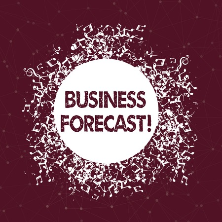 Text sign showing Business Forecast. Business photo text estimate or prediction of future developments in business Disarrayed and Jumbled Musical Notes Icon Surrounding Blank Colorful Circle