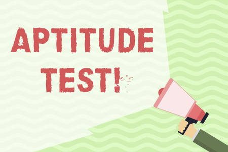 Conceptual hand writing showing Aptitude Test. Concept meaning designed to determine a demonstrating s is ability in a particular skill Hand Holding Megaphone with Wide Beam Extending the Volume