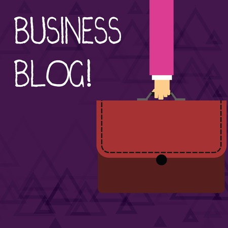 Writing note showing Business Blog. Business concept for Devoted to write about subject matter related to the company Businessman Carrying Colorful Briefcase Portfolio Applique