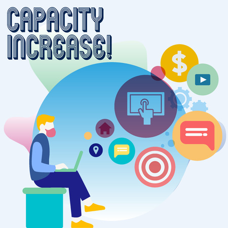 Word writing text Capacity Increase. Business photo showcasing meet an actual increase in deanalysisd, or an anticipated one Man Sitting Down with Laptop on his Lap and SEO Driver Icons on Blank Space