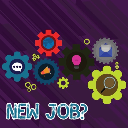 Text sign showing New Job Question. Business photo text formal meeting which someone asked find out if they are suitable Set of Global Online Social Networking Icons Inside Colorful Cog Wheel Gear