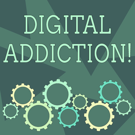 Conceptual hand writing showing Digital Addiction. Concept meaning disorder that involves the obsessive use of mobile devices Cog Wheel Gear Engaging, Interlocking and Tesselating Imagens