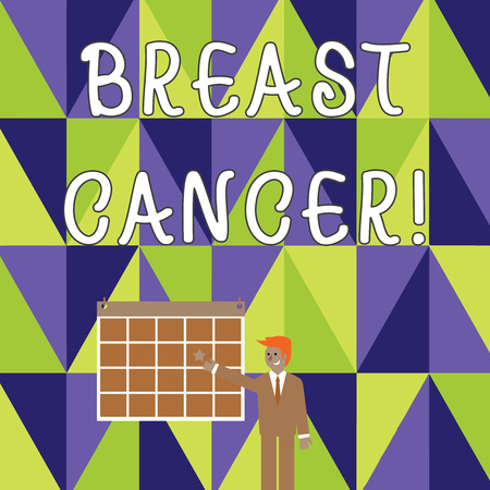 Writing note showing Breast Cancer. Business concept for Malignant tumour arising from the cells of the breast Businessman Smiling and Pointing Calendar with Star on Wall