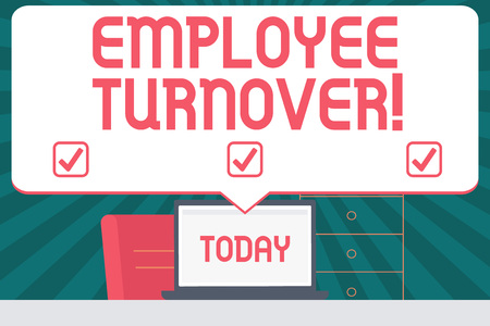 Handwriting text writing Employee Turnover. Conceptual photo the percentage of workers who leave an organization Blank Huge Speech Bubble Pointing to White Laptop Screen in Workspace Idea