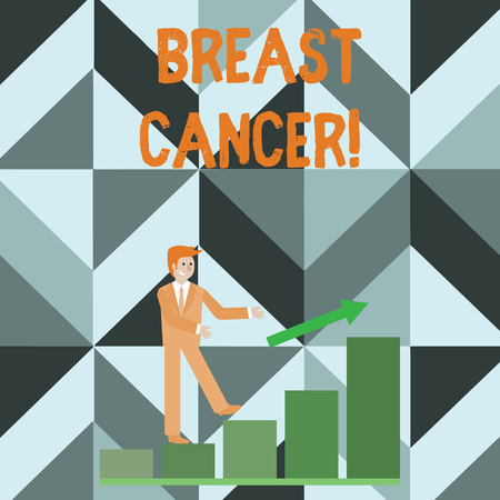 Writing note showing Breast Cancer. Business concept for Malignant tumour arising from the cells of the breast Smiling Businessman Climbing Bar Chart Following an Arrow Up