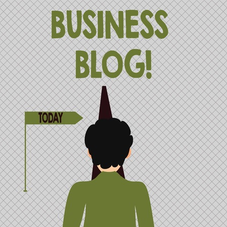 Conceptual hand writing showing Business Blog. Concept meaning Devoted to write about subject matter related to the company Man Facing Distance and Blocking the View of Straight Narrow Path