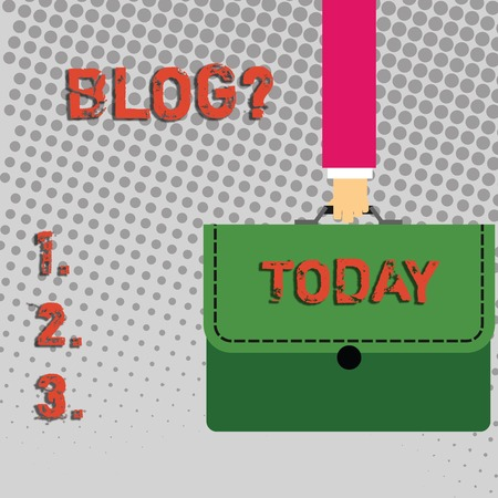 Handwriting text Blog question. Conceptual photo regularly updated website web page run by individual Businessman Hand Carrying Colorful Briefcase Portfolio with Stitch Applique Reklamní fotografie
