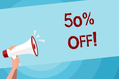 Text sign showing 50 Percent Off. Business photo text 50 percent reduction on the original price of a product Human Hand Holding Tightly a Megaphone with Sound Icon and Blank Text Space