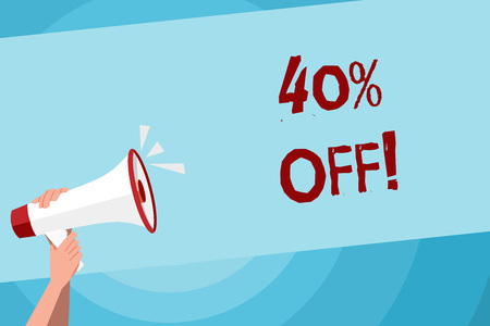Text sign showing 40 Percent Off. Business photo text 40 percent reduction on the original price of a product Human Hand Holding Tightly a Megaphone with Sound Icon and Blank Text Space Imagens