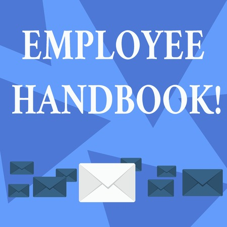 Writing note showing Employee Handbook. Business concept for states the rules and regulations and policies of a company Color Envelopes in Different Sizes with Big one in Middle