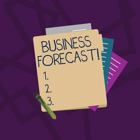 Handwriting text Business Forecast. Conceptual photo estimate or prediction of future developments in business Colorful Lined Paper Stationery Partly into View from Pastel Blank Folder