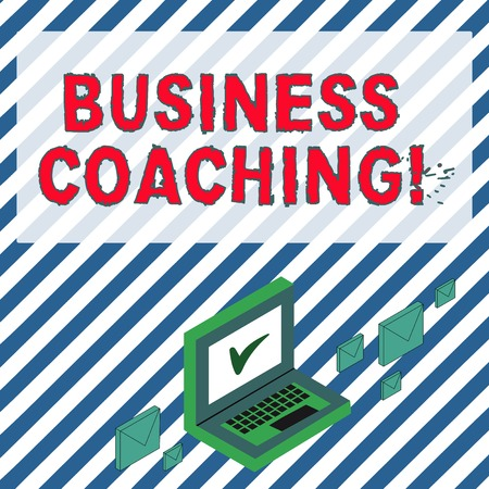 Word writing text Business Coaching. Business photo showcasing providing support and occasional advice to an individual Color Mail Envelopes around Laptop with Check Mark icon on Monitor Screen