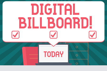 Handwriting text writing Digital Billboard. Conceptual photo billboard that displays digital images for advertising Blank Huge Speech Bubble Pointing to White Laptop Screen in Workspace Idea Stock fotó