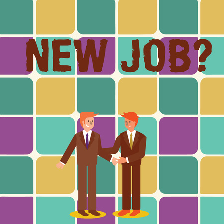 Text sign showing New Job Question. Business photo showcasing formal meeting which someone asked find out if they are suitable Two Businessmen Standing, Smiling and Greeting each other by Handshaking