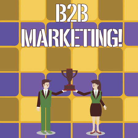 Conceptual hand writing showing B2B Marketing. Concept meaning marketing of products to businesses or other organizations Man and Woman Business Suit Holding Championship Trophy Cup 스톡 콘텐츠