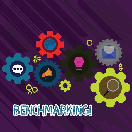 Text sign showing Benchmarking. Business photo text evaluate something by comparison with standard or scores Set of Global Online Social Networking Icons Inside Colorful Cog Wheel Gear
