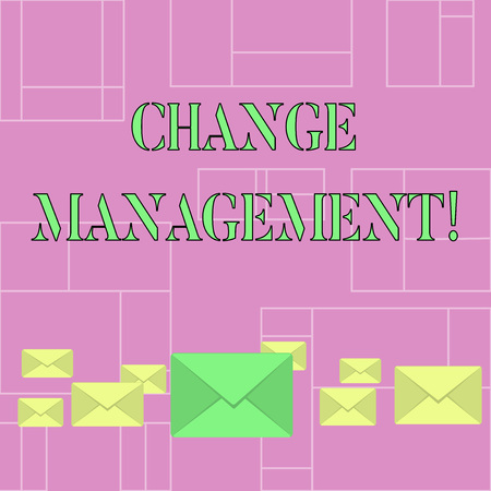 Conceptual hand writing showing Change Management. Concept meaning systematic approach to dealing with the transition Color Envelopes in Different Sizes with Big one in Middle