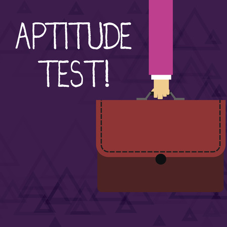 Writing note showing Aptitude Test. Business concept for designed to determine a demonstrating s is ability in a particular skill Businessman Carrying Colorful Briefcase Portfolio Applique