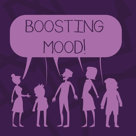 Text sign showing Boosting Mood. Business photo showcasing To make someone feel more positive or more confident Silhouette Figure of People Talking and Sharing One Colorful Speech Bubble Stock Photo