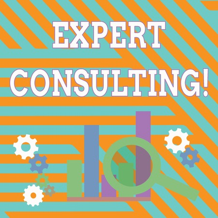 Text sign showing Expert Consulting. Business photo showcasing providing of expert knowledge to a third party for a fee Magnifying Glass Over Bar Column Chart beside Cog Wheel Gears for Analysis