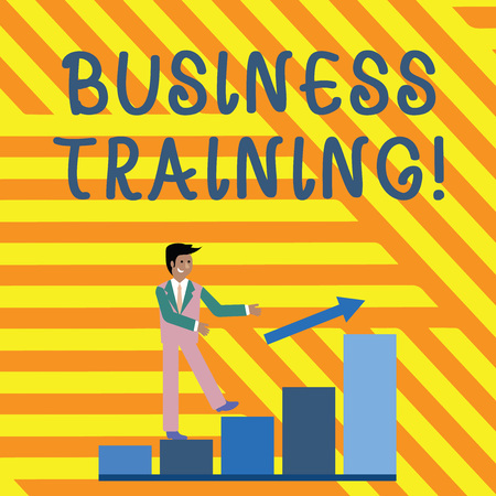 Word writing text Business Training. Business photo showcasing increasing the knowledge and skills of the workforce Smiling Businessman Climbing Bar Chart Following an Arrow Going Up 스톡 콘텐츠