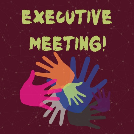 Handwriting text Executive Meeting. Conceptual photo discuss a specific topic with boards and general members Color Hand Marks of Different Sizes Overlapping for Teamwork and Creativity