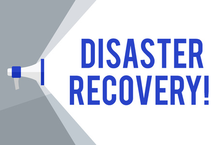 Writing note showing Disaster Recovery. Business concept for helping showing affected by a serious damaging event Megaphone Extending the Volume Range through Space Wide Beam
