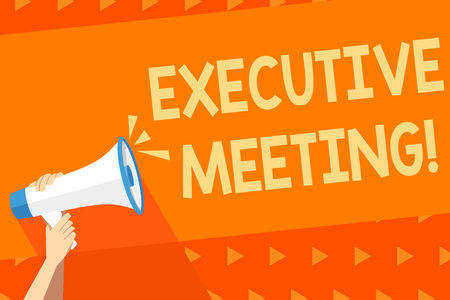 Writing note showing Executive Meeting. Business concept for discuss a specific topic with boards and general members Human Hand Holding Megaphone with Sound Icon and Text Space