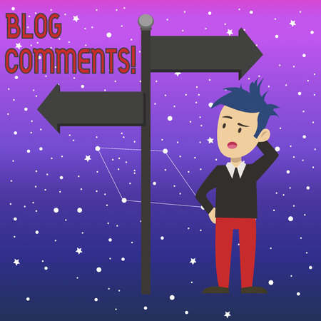 Conceptual hand writing showing Blog Comments. Concept meaning Space at the end of each post for a reader to leave a comment Man Confused with Road Sign Pointing to Opposite Direction 스톡 콘텐츠