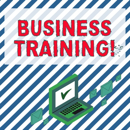 Word writing text Business Training. Business photo showcasing increasing the knowledge and skills of the workforce Color Mail Envelopes around Laptop with Check Mark icon on Monitor Screen 스톡 콘텐츠