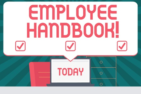 Handwriting text writing Employee Handbook. Conceptual photo states the rules and regulations and policies of a company Blank Huge Speech Bubble Pointing to White Laptop Screen in Workspace Idea
