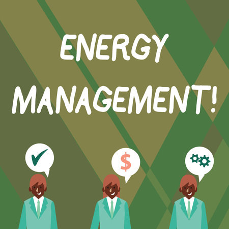 Word writing text Energy Management. Business photo showcasing way of tracking and monitoring energy to conserve usage Businessmen Each has their Own Speech Bubble with Optimization Cost Icons Imagens