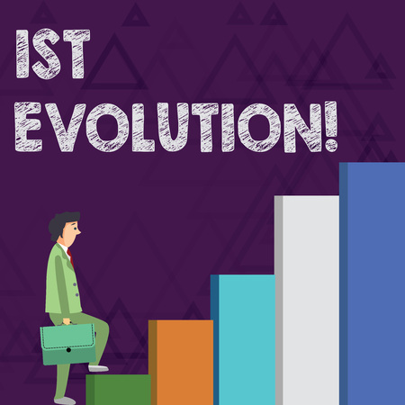 Word writing text 1St Evolution. Business photo showcasing Change in the genetic features of biological populations Businessman Carrying a Briefcase is in Pensive Expression while Climbing Up