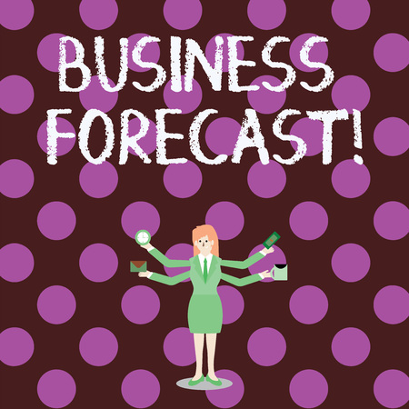 Word writing text Business Forecast. Business photo showcasing estimate or prediction of future developments in business Businesswoman with Four Arms Extending Sideways Holding Workers Needed Item