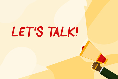 Text sign showing Let S Talk. Business photo text they are suggesting beginning conversation on specific topic Hand Holding Megaphone with Blank Wide Beam for Extending the Volume Range Stock fotó