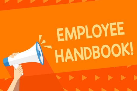 Writing note showing Employee Handbook. Business concept for states the rules and regulations and policies of a company Human Hand Holding Megaphone with Sound Icon and Text Space Фото со стока