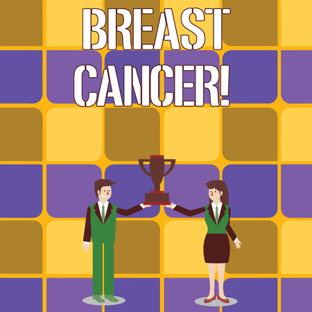 Conceptual hand writing showing Breast Cancer. Concept meaning Malignant tumour arising from the cells of the breast Man and Woman Business Suit Holding Championship Trophy Cup