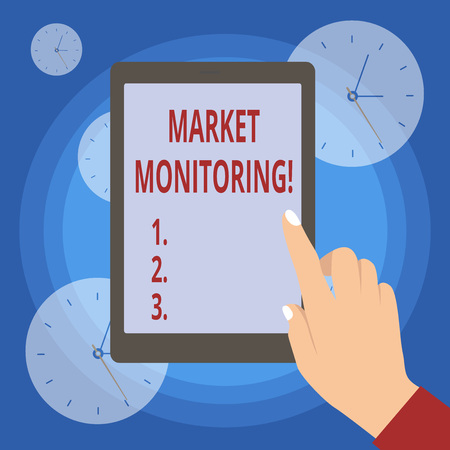 Handwriting text writing Market Monitoring. Conceptual photo supervising activities in progress in the trading center Stock Photo