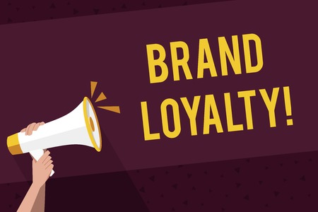 Writing note showing Brand Loyalty. Business concept for Dedication to purchase the same product or service repeatedly Human Hand Holding Megaphone with Sound Icon and Text Space