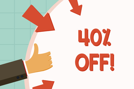 Text sign showing 40 Percent Off. Business photo showcasing 40 percent reduction on the original price of a product Hand Gesturing Thumbs Up and Holding on Blank Space Round Shape with Arrows