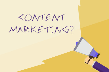 Writing note showing Content Marketing question. Business concept for involves creation and sharing of online material Hand Holding Megaphone with Beam Extending the Volume Range Imagens - 122296689