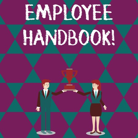 Text sign showing Employee Handbook. Business photo text states the rules and regulations and policies of a company Man and Woman in Business Suit Holding Together the Championship Trophy Cup