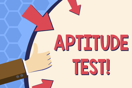 Writing note showing Aptitude Test. Business concept for designed to determine a demonstrating s is ability in a particular skill Hand Gesturing Thumbs Up Holding on Round Shape with Arrows