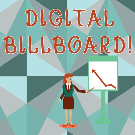 Conceptual hand writing showing Digital Billboard. Concept meaning billboard that displays digital images for advertising Woman Holding Stick Pointing to Chart of Arrow on Whiteboard Stockfoto