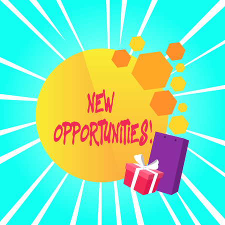 Text sign showing New Opportunities. Business photo showcasing situation that makes it possible to do something