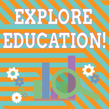 Text sign showing Explore Education. Business photo showcasing Discover the ways of acquiring knowledge or skills Magnifying Glass Over Bar Column Chart beside Cog Wheel Gears for Analysis