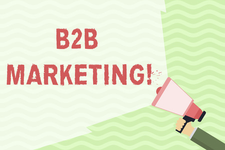 Conceptual hand writing showing B2B Marketing. Concept meaning marketing of products to businesses or other organizations Hand Holding Megaphone with Wide Beam Extending the Volume